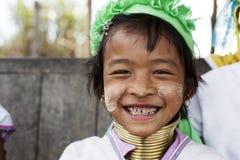 Παιδί μακρύς-λαιμών, το Μιανμάρ Στοκ Εικόνα