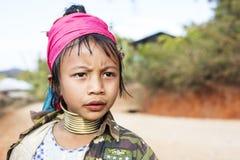 Παιδί μακρύς-λαιμών, το Μιανμάρ Στοκ Φωτογραφία