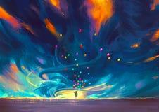 Παιδί με τα μπαλόνια που στέκονται μπροστά από τη θύελλα διανυσματική απεικόνιση