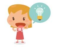 Παιδί με την ιδέα Επίπεδο σχέδιο χαρακτήρα Στοκ Εικόνα