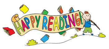Παιδί με το ευτυχές έμβλημα ανάγνωσης στοκ φωτογραφία