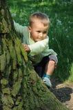 παιδί που αναρριχείται σ&epsil Στοκ Φωτογραφία