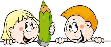 Παιδί που κρατά ένα μολύβι και που κρυφοκοιτάζει από πίσω από μια άσπρη επιφάνεια - διανυσματική απεικόνιση διανυσματική απεικόνιση