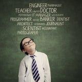 Παιδί που σκέφτεται μια φιλοδοξία στοκ εικόνες