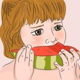 Παιδί που τρώει το καρπούζι απεικόνιση αποθεμάτων