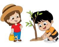Παιδί που φυτεύει ένα δέντρο διανυσματική απεικόνιση