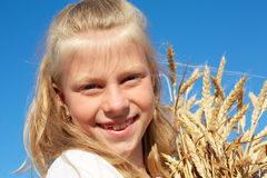 Παιδί στα άσπρα αυτιά σίτου εκμετάλλευσης πουκάμισων στα χέρια Στοκ Φωτογραφία
