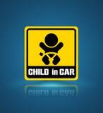 Παιδί στο έμβλημα αυτοκινήτων απεικόνιση αποθεμάτων