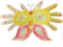 Παιδί handprint με μορφή μιας πεταλούδας Στοκ φωτογραφία με δικαίωμα ελεύθερης χρήσης