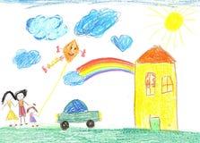 Παιδί ` s που σύρει την ευτυχή οικογένεια, σπίτι, αυτοκίνητο Στοκ Εικόνες