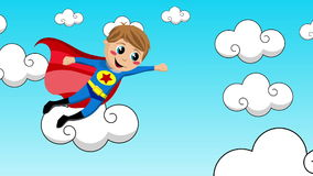Παιδί Superhero που πετά στον ουρανό ελεύθερη απεικόνιση δικαιώματος