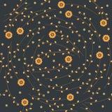 Παιδαριώδες άνευ ραφής σχέδιο με τα ζωηρόχρωμα λουλούδια και τα φύλλα Στοκ Εικόνες