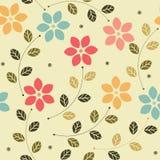 Παιδαριώδες άνευ ραφής σχέδιο με τα ζωηρόχρωμα λουλούδια και τα φύλλα Στοκ Εικόνα
