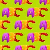 Παιδιάστικο άνευ ραφής σχέδιο doodle ABC, επίπεδο σχέδιο Στοκ Φωτογραφίες