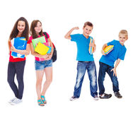 Παιδιά έτοιμα για το σχολείο στοκ φωτογραφία με δικαίωμα ελεύθερης χρήσης