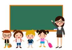Παιδιά δασκάλων και σχολείων ελεύθερη απεικόνιση δικαιώματος