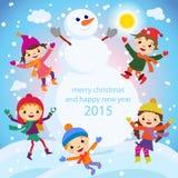 Παιδιά ευχετήριων καρτών Χριστουγέννων, χιόνι και διάνυσμα χιονανθρώπων απεικόνιση αποθεμάτων