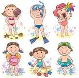 Παιδιά θερινών παραλιών διανυσματική απεικόνιση