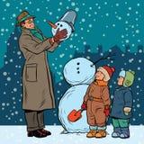 Παιδιά και αρσενικός χιονάνθρωπος φορμών απεικόνιση αποθεμάτων