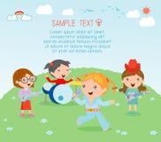 Παιδιά και μουσική, διανυσματική απεικόνιση τέσσερα του κοριτσιού σε μια ζώνη μουσικής, παιδιά που παίζει τα μουσικά όργανα Στοκ φωτογραφία με δικαίωμα ελεύθερης χρήσης