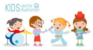 Παιδιά και μουσική, διανυσματική απεικόνιση του κοριτσιού τέσσερα σε μια ζώνη μουσικής Στοκ Εικόνες