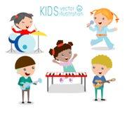 Παιδιά και μουσική, παιδιά που παίζουν τα μουσικά όργανα, απεικόνιση των παιδιών Στοκ Εικόνες