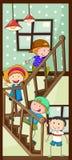 Παιδιά και σκαλοπάτια ελεύθερη απεικόνιση δικαιώματος