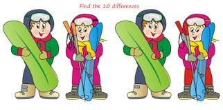 Παιδιά και σκι-εύρημα 10 διαφορές Στοκ φωτογραφία με δικαίωμα ελεύθερης χρήσης