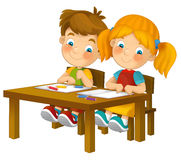 Παιδιά κινούμενων σχεδίων που κάθονται - που μαθαίνουν - την απεικόνιση για τα παιδιά XXL Στοκ φωτογραφία με δικαίωμα ελεύθερης χρήσης