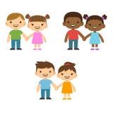Παιδιά κινούμενων σχεδίων που κρατούν τα χέρια Στοκ Φωτογραφία