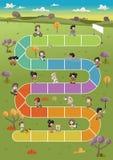 Παιδιά κινούμενων σχεδίων που παίζουν πέρα από την πορεία στο πράσινο πάρκο απεικόνιση αποθεμάτων
