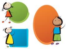 Παιδιά με τα εμβλήματα Στοκ Εικόνα