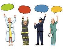 Παιδιά με την έννοια λεκτικών φυσαλίδων εννοιών εργασίας ονείρου Στοκ Εικόνες