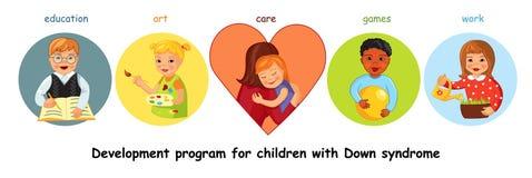 Παιδιά με την κάτω ανάπτυξη συνδρόμου διανυσματική απεικόνιση