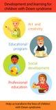 Παιδιά με την κάτω εκμάθηση συνδρόμου ελεύθερη απεικόνιση δικαιώματος