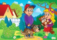 Παιδιά με το θέμα 2 κατοικίδιων ζώων Στοκ Φωτογραφία