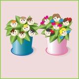 Παιδιά, λουλούδια ζωής Στοκ Φωτογραφίες