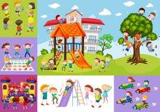 Παιδιά που έχουν τη διασκέδαση στο σχολείο και την παιδική χαρά διανυσματική απεικόνιση