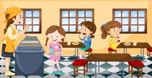 Παιδιά που έχουν το μεσημεριανό γεύμα στην καντίνα διανυσματική απεικόνιση