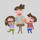 Παιδιά που δίνουν την ημέρα Â πατέρων δώρων Στοκ Εικόνες