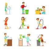 Παιδιά που βοηθούν με τον εγχώριο καθαρισμό, που πλένουν το πάτωμα, που ρίχνουν έξω τα απορρίματα και που ποτίζουν τις εγκαταστάσ διανυσματική απεικόνιση