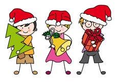 Παιδιά που γιορτάζουν τα Χριστούγεννα Στοκ φωτογραφίες με δικαίωμα ελεύθερης χρήσης