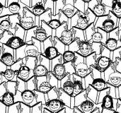 Παιδιά που διαβάζουν τα βιβλία, άνευ ραφής σχέδιο Στοκ φωτογραφία με δικαίωμα ελεύθερης χρήσης