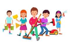 Παιδιά που καθαρίζουν την ομάδα που κάνει τις οικιακές μικροδουλειές απεικόνιση αποθεμάτων