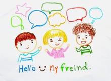 Παιδιά που μιλούν την απεικόνιση κιμωλίας handdraw Στοκ Εικόνες