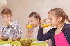 Παιδιά που πίνουν το χυμό από κοινού Στοκ φωτογραφία με δικαίωμα ελεύθερης χρήσης