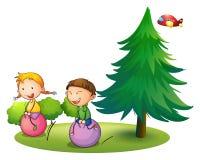 Παιδιά που παίζουν με τα αναπηδώντας μπαλόνια κοντά στο δέντρο πεύκων Στοκ φωτογραφία με δικαίωμα ελεύθερης χρήσης