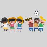 Παιδιά που παίζουν με το σύνολο vr Στοκ Φωτογραφίες