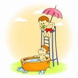 Παιδιά που παίζουν στην μπανιέρα Στοκ Φωτογραφίες