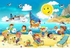 Παιδιά που παίζουν στην παραλία - ωκεανός Στοκ Εικόνα